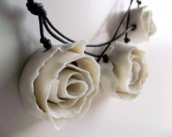 Porcelain Necklace - MADE TO ORDER - Three  White  Porcelain Roses a Fresh Necklace from Italy - Limoges Porcelain