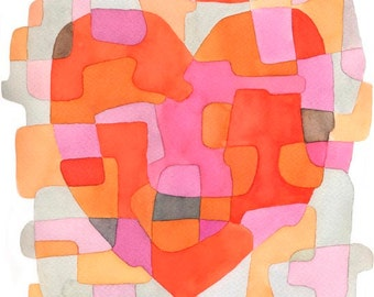Heart Abstract Art Print Mid Century Modern print poster pink orange red gray 8 x 10