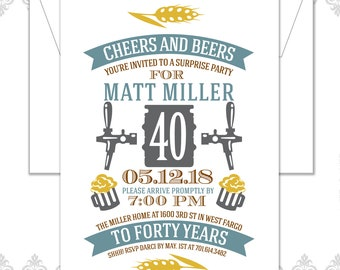 40th Birthday Invite, Cheers and Beers Invite, Beer Birthday Invite, Turning forty, Cheers & Beers to Forty years, Keg, Beers, modern, 40th