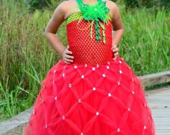 Girls Strawberry Tutu Dress Halloween Costume (Newborn - 5T)