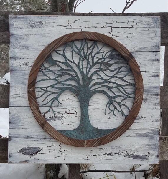 r cup ration bois arbre de vie art mural art mural en m tal. Black Bedroom Furniture Sets. Home Design Ideas