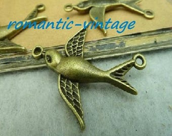 "Bird charm 20 ""between two"" antique bronze 37 * 29.5 mm"