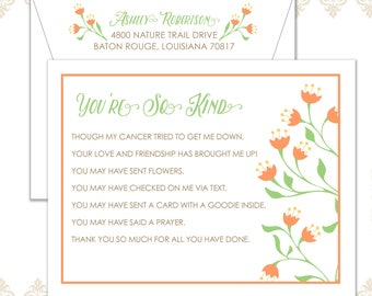 You're so Kind flower stationery set of 10 flat cards & printed envelopes, Cancer thank you stationery, Grateful Notecards, Health thank you