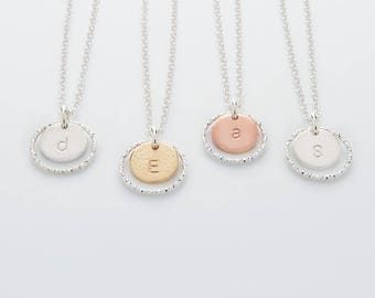 Personalised Disc Necklace - initial and circle necklace in silver, gold or rose gold fill - HALO necklace