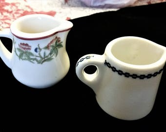 Two Vintage Restaurant Creamers Porcelain Unmarked No defects Unique Lot of 2 Creamers with Handles