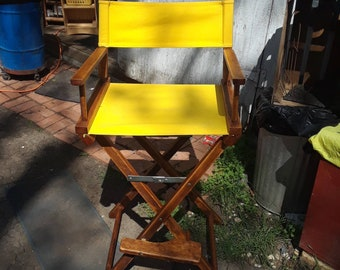 Refinished Vintage Wooden  Director's Chair Folding Tall Patio/Bar Chair Yellow Seat