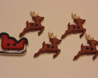 5 piece Reindeer and Sleigh button set, 15-22 mm (B5)