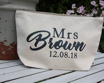 Personalised Mrs pouch, Bride gift, wedding gift, personalised wedding gift. custom wedding