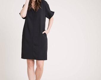Oversize Dress / Unique Dress / Black Dress / Loose Dress / Casual Dress / Business Casual Dress / Marcellamoda - MD0826