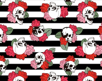 Striped Skull and Roses Cotton Fabric