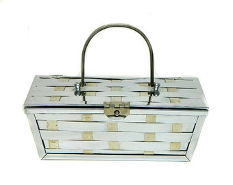 1950s Chrome Metal Woven Basket Box Purse