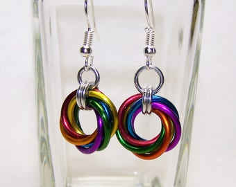 Rainbow Earrings, LGBT Earrings, Chainmaille Earrings