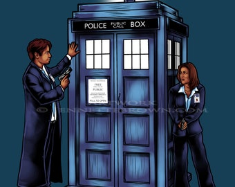 Doctor Who X-Files Scully and Mulder - The Agents have the Phone Box - Fan Art Print or Poster