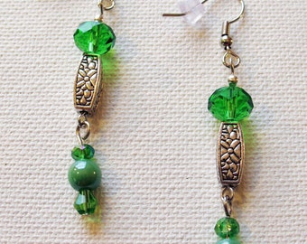 Green and silver dangle earrings