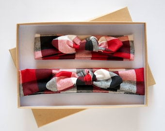 Mommy and Me Baby Knot Headband Set - Buffalo Plaid Adult Jersey Headband - Baby Girl Headwrap - Toddler Turban - Red White and Black Plaid