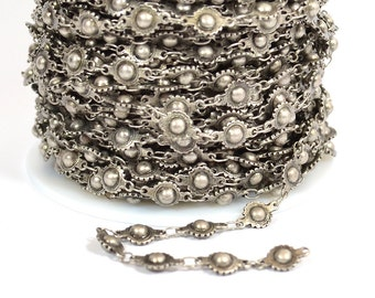 Ball and Cog Chain - Antique Silver - CH78 - Choose Your Length