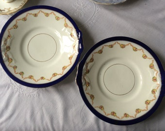 Pair of Cake Plates with early transferware, afternoon tea, shabby chic, English china, china cabinet, floral plates, mis-matched china