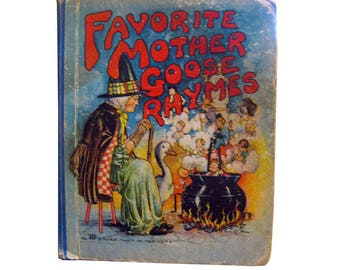 Favorite Mother Goose Rhymes Platt & Munk - Nursery Rhymes Book - Vintage Mother Goose - Nursery Decor - Baby Shower Gift - Collectible Book