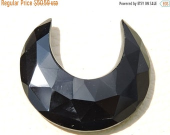 25% OFF Summer Sale Only On Our Shop 1 Pc Beautiful Natural Black Onyx Rose Cut Faceted Carved Moon Cut Loose Gemstone Size - 29X29X12 Mm