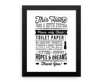 Framed Photo Paper Poster Septic Do Not Flush Bathroom Decor Powder Room Wall Hanging Wall Sign Wall Decor Wall Art Digital Print Home Decor