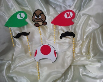 Nintendo Super Mario Inspired Photo Booth Props Set of 6 ~ Great for Birthday Party