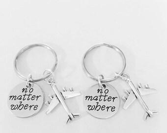 No Matter Where Airplane Long Distance, Best Friend Gift, Best Friend Keychain, Travel, Sister Mother Daughter Keychain Set