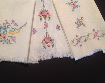 Three Vintage hand towels Embroidered guest towels Spring hand towels