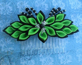 Black and Lime Green Kanzashi Flower Hair Comb
