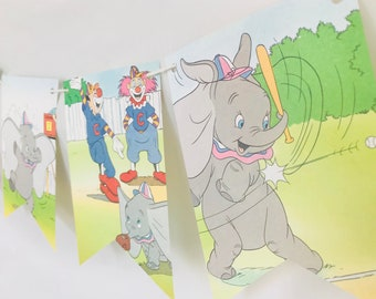 Dumbo at Bat *B* Story Book Pages Bunting Pennants Nursery Decor Baby Shower Birthday Party Garland Flags