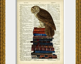 Book Page Art Print - BOOKISH OWL - an upcycled antique dictionary page with a wise owl on an old stack of books - home decor