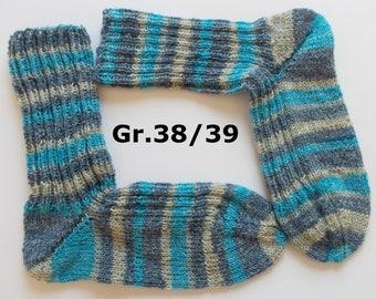 hand-knitted socks, Gr. 38/39 (EU), blue - turquoise - beige