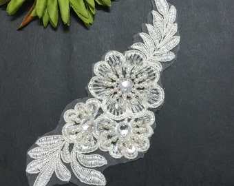 White Embroidered Beads and Sequins Flower Applique