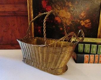 Vintage Brass Wine Holder, Gilded Wire Basket, Hollywood Regency Wine Coaster, Vintage Barware