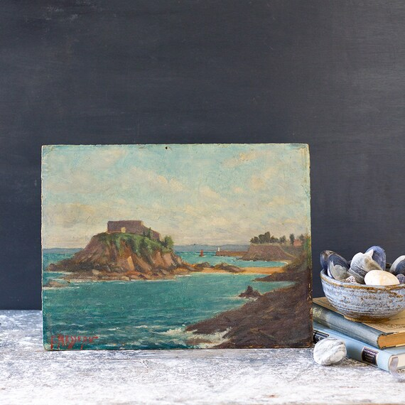 Vintage French Painting - Island Ruins