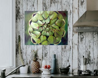 Artichoke 3D Wall Art Canvas - Paper Sculpture & Oil Painting Green Vegetable Food Art Painting Kitchen Picture