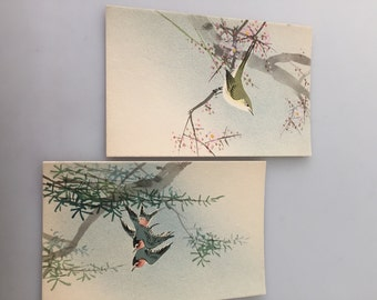 1940s vintage, Set of TWO, Vintage Postcards, JAPANESE Watercolors, Old Postcards, BIRDS in Tree and Bamboo Made in Japan