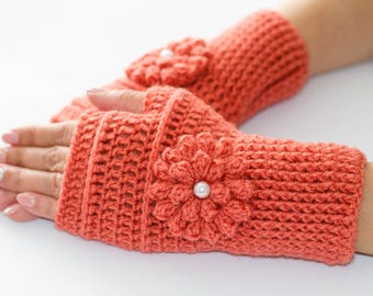Flower gloves, fingerless gloves, knitted gloves, fingerless mittens, womens gloves, arm warmers, knit mittens, wool gloves, winter gloves