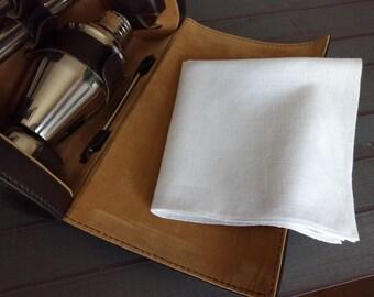 White Pocket Square, Cotton Pocket Square, Mens Handkerchief, Dad Hankerchief, Wedding Handkerchief, Dad Handkerchief