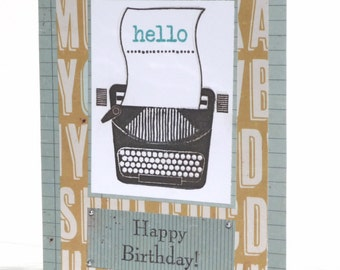 Happy Birthday Typewriter Handmade Greeting Card for Him