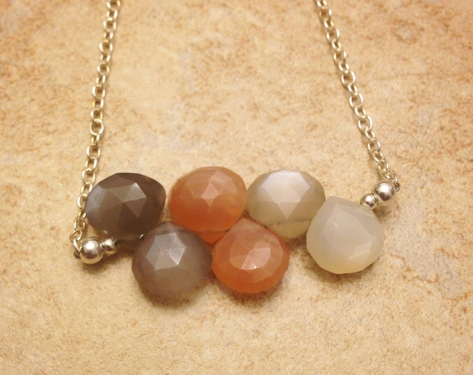 Sterling Silver Natural Moonstone Necklace