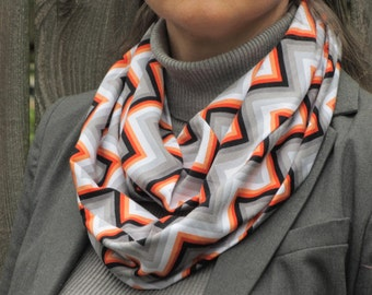 Autumn colors scarf grey scarf Chevron infinity scarf zigzag gray orange tangerine circle scarf soft cotton loop scarf for women & teen girl