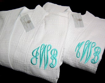 Couples Robes, His and Hers Robes, Mr and Mrs Robes, Personalized Cotton Anniversary Gift, 1711 Set of 2 Robes