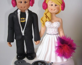 Music theme DJ wedding cake topper- Custom made bride and groom wedding cake topper