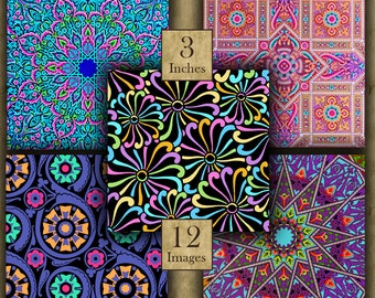 3 inch BRIGHT DESIGNS Digital Printable Squares collage sheets for Coasters & Crafts