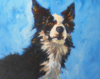 "Art Print. Border Collie . Pet Portrait. From an Original Acrylic Painting. 5"" x 5"",  8"" x 8"" or 11"" x 11"""