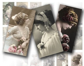 Digital collage sheet 1x2 inch domino Vintage lady Victorian art jewelry making paper supplies download graphics (024) BUY 3 GET 1 FREE