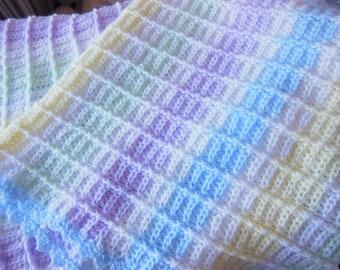 Baby Blanket - Hand crocheted in soft  yarn