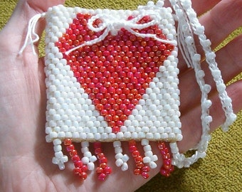 Valentine Beaded Totem Pouch Medicine Bag Talisman Keeper - Hearts Love Friendship Amulet - Beadwoven Seed Bead Art - Bohemian Fashion