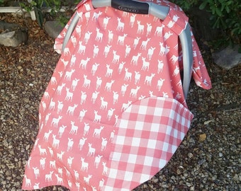 Car Seat Canopy - Baby Car Seat Cover - Deer Seat Canopy - Girls Car Seat Cover - Pink Car Canopy - Baby Shower Gift - Baby Christmas Gift