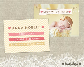 Photo Birth Announcement Girl Template INSTANT DOWNLOAD
